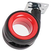 Ролик пластиковый с площадкой Ferro Fiori R 10030 d=75, нагрузка 50 кг хром|черный+красный