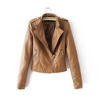 Кожаная куртка коричневого цвета на молнии
