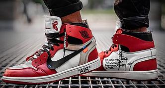 Кроссовки баскетбольные Off-White x Nike Air Jordan 1, НАЙК АИР ДЖОРДАН ОФФ ВАЙТ