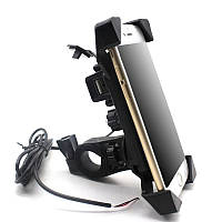 Держатель для телефона на мотоцикл с портом USB для зарядки \ Код KS08007