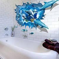 """3D наклейка виниловая """"Дельфины"""" - размер 60*90см"""