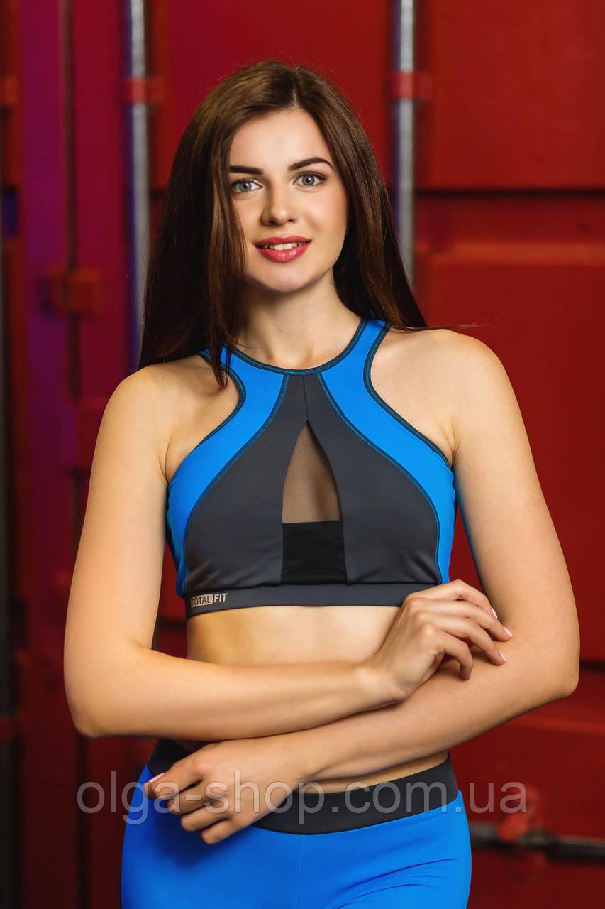 Жіночий спортивний топік Totalfit TD25 S Сірий з блакитним