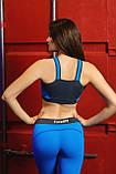 Жіночий спортивний топік Totalfit TD25 S Сірий з блакитним, фото 2