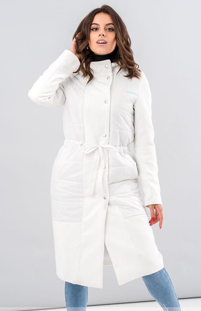 baad088ac00 Стильное женское пальто с капюшоном белого цвета. Модель 19563. Размеры 42- 46