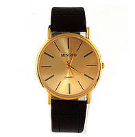 Изящные мужские наручные часы MINGBO золотой циферблат, фото 1