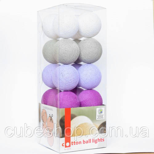"""Тайская LED-гирлянда """"Lavender style"""" (20 шариков) на батарейках"""