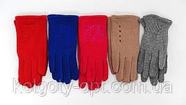 Перчатки трикотажные на байке с аппликациями для девочек (продаются только от 12 пар)