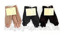 Перчатки подростковые трикотажные с вязанным верхом (продаются только от 12 пар)