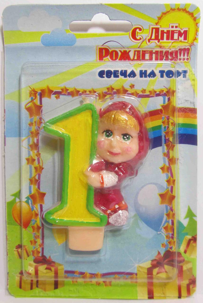"""Свеча на торт """"М и М"""" -""""1""""."""