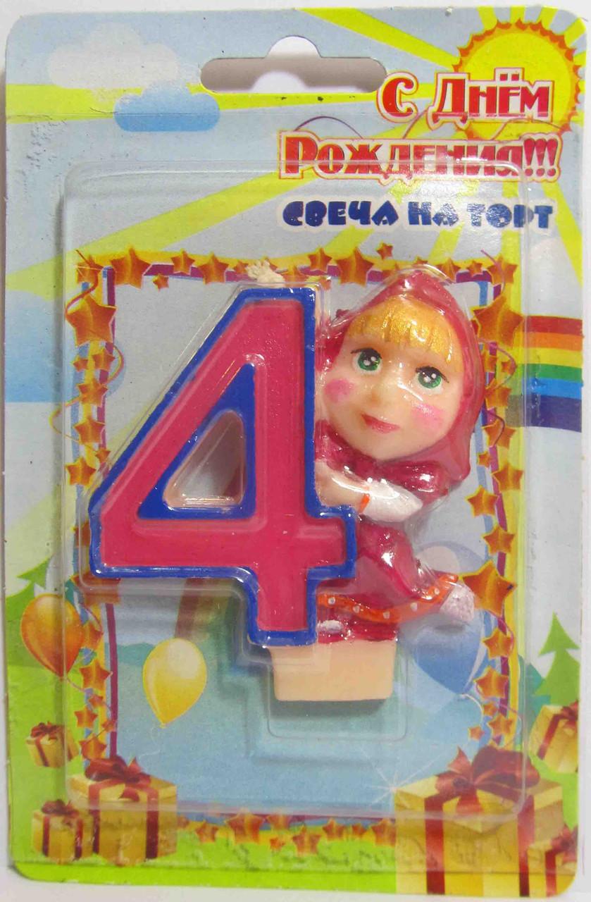 """Свеча на торт """"М и М"""" -""""4""""."""