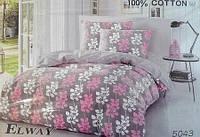 """Комплект постельного белья ELWAY в размере евро 5043 """"Цветочный принт"""""""