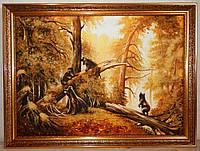 Картина янтарная Утро в сосновом лесу (Медведи)