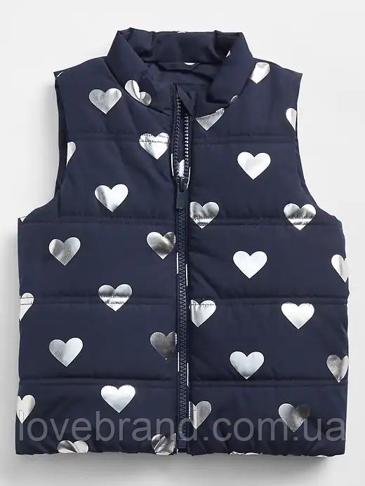 Легкая жилетка синяя, серебряное сердечко для девочки GAP