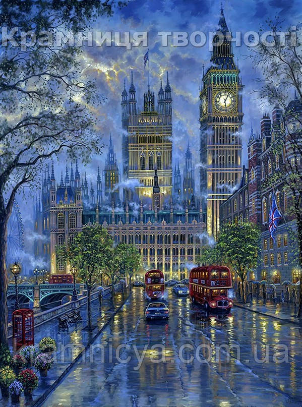 """Роспись по номерам на холсте """"Лондон. Вестминский дворец"""", 40х50см. (VS041, MG1151, КН1151, КНО3524)"""