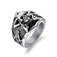 Мужское кольцо печатка из стали с черепом и масонским циркулем, фото 1