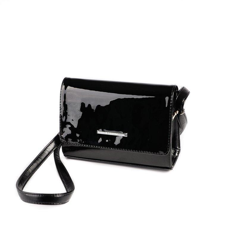 c9ea158a7fe3 Черная лаковая маленькая сумка-клатч М172-лак/Z через плечо кросс-боди