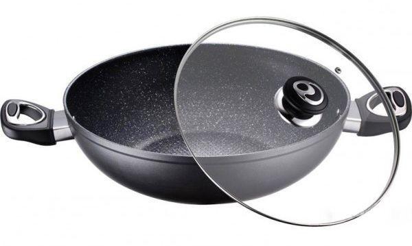 Сковорода WOK черная керамика 30 см Peterhof PH-15410