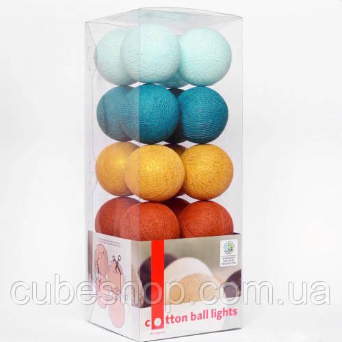 """Тайська LED-гірлянда """"Golden Breeze"""" (10 кульок) на батарейках"""