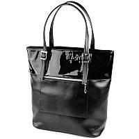 Черная лаковая женская сумка шоппер корзина с длинными ручками