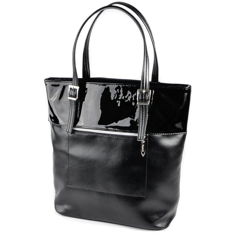 6f2ff875d859 Черная лаковая сумка М180-Z/лак шоппер корзина с длинными ручками - Интернет  магазин