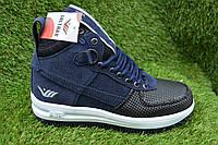 712f544a Высокие кроссовки кеды Nike Air Force темно синие р36 - 40, копия