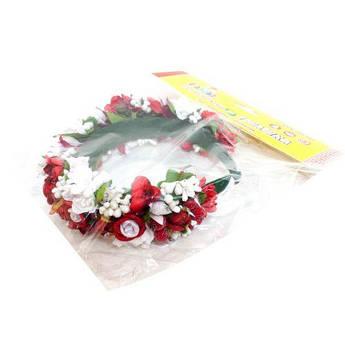 """Цветочный обруч """"Красно-белые розы"""" (широкий) ОУ004у"""