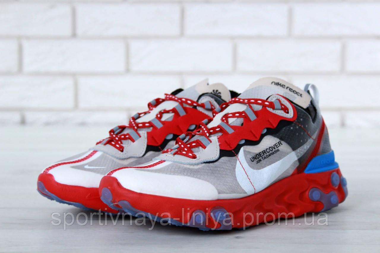 Кроссовки мужские серые Undercover x Nike React Element 87 (реплика)