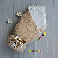 Конверт для новорожденных на выписку и в коляску теплый персиковый вязка на махре, фото 1