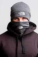 Горловик баф и шапка The North Face gray. Комплект (Реплика ААА+)