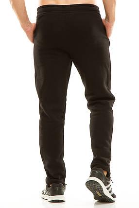 Мужские спортивные теплые  штаны 437 черные, фото 2