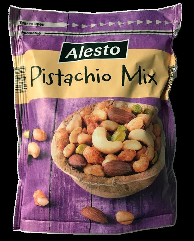 Смесь орехов Alesto Pistachio Mix (очищенная фисташка, арахис в кляре из перца, кешью, миндаль), 200 г.