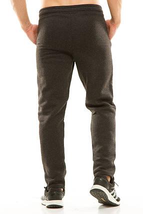 Мужские спортивные теплые  штаны 437 темно-серые, фото 2