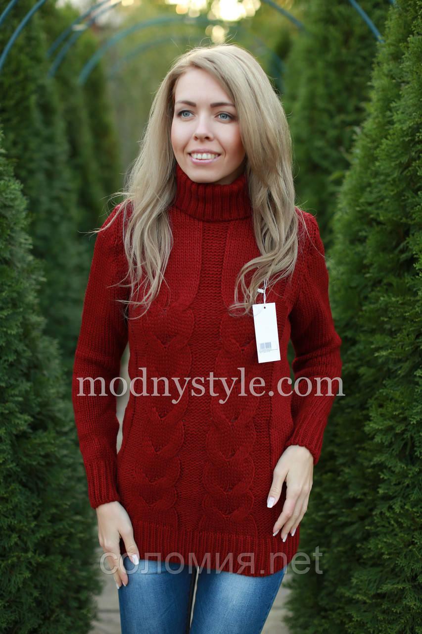 свитер женский вязаный шерстяной бордовый продажа цена в києві