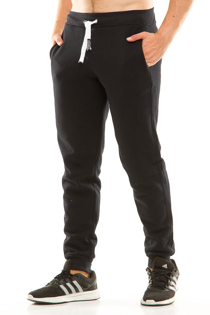 Мужские спортивные теплые  штаны на манжете 438 темно-синие