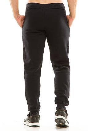 Мужские спортивные теплые  штаны на манжете 438 темно-синие, фото 2