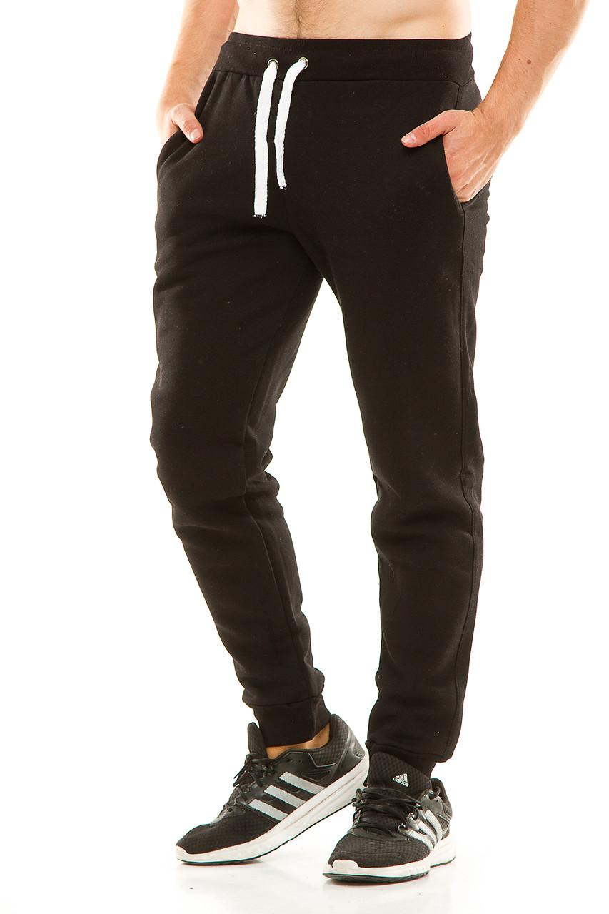 Мужские спортивные теплые  штаны на манжете 438 черные