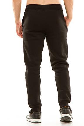Мужские спортивные теплые  штаны на манжете 438 черные, фото 2