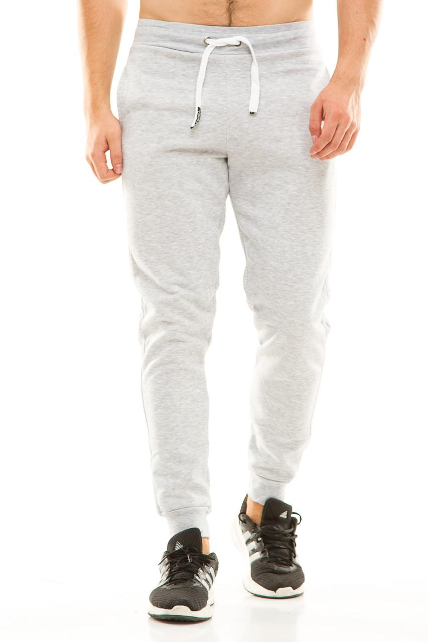 Мужские спортивные теплые  штаны на манжете 438 серые