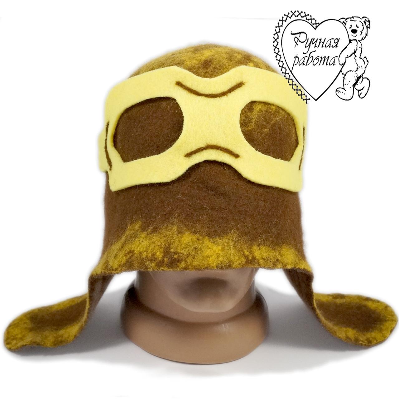 Банная шапка   Летчик, натуральная шерсть, ручная работа