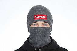 Горловик баф и шапка Supreme gray. Комплект (Реплика ААА+)