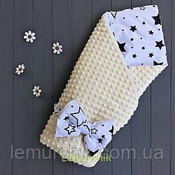 Конверт-одеяло минки на синтепоне молочный Звездочки черные