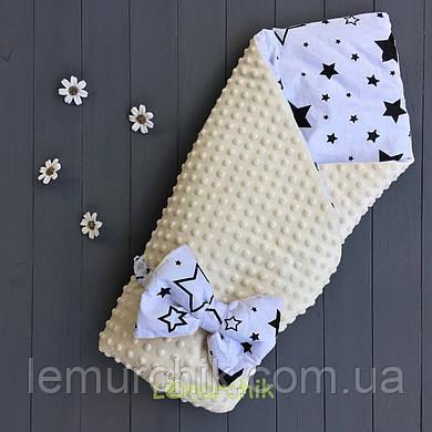 Конверт-одеяло минки на съемном синтепоне молочный Звездочки