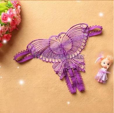 """Стринги """"Бабочка"""" фиолетовые, фото 2"""