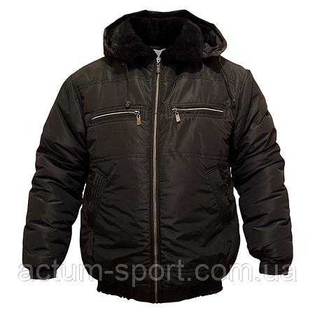 Мужская зимняя куртка с капюшоном Пилот черная