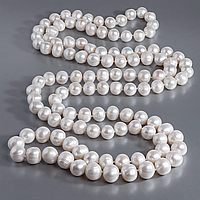 Перли білий натуральний, Ø11 мм., намисто, 487БСЖ