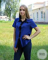Блуза с коротким рукавом синяя с черным