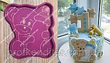 Набор Мишка тедди с пустышкой - пластиковая вырубка + трафарет