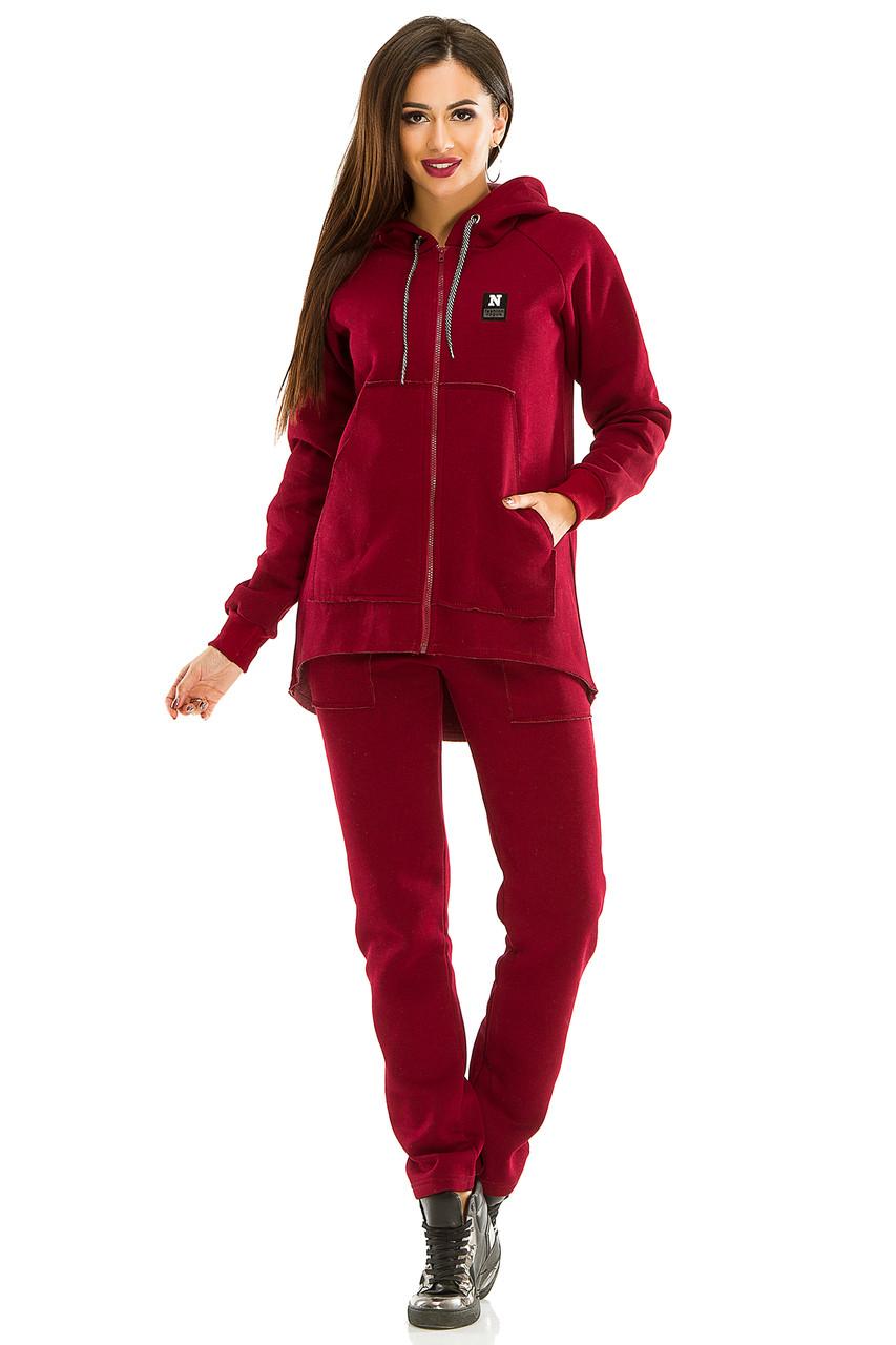 Женский теплый спортивный костюм 439 бордо