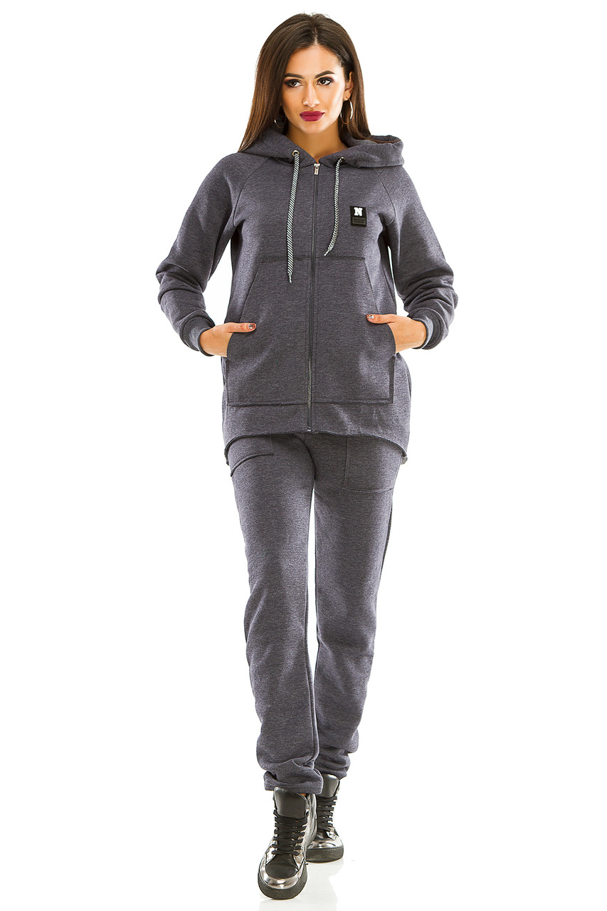 Женский теплый спортивный костюм 439 джинсовый