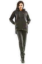 Женский теплый спортивный костюм 439 темно-серый